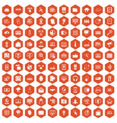 100 cyber security icons hexagon orange vector image vector image