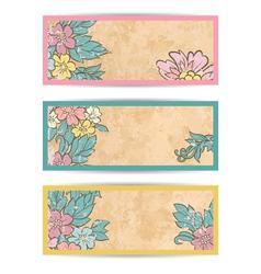 Retro flowers banner set vector image