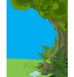 Landscape with tree and fern vector