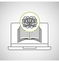 Learn online book brain intellect vector
