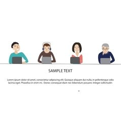 People working on laptop concept vector