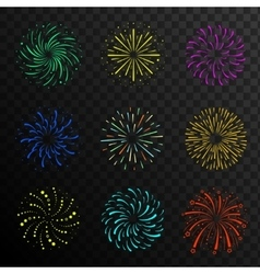 Colorful festive firework balls sparklers salute vector