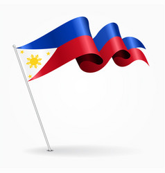 philippines pin wavy flag vector image