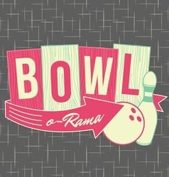 1950s bowling style logo design vector