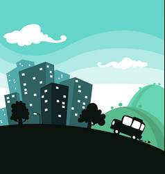 Cartoon town travel with building and car vector