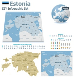 Estonia maps with markers vector image