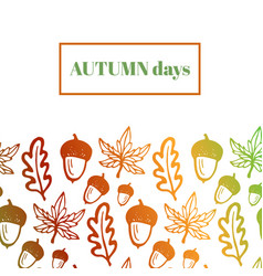 Autumn background with acorns maple and oak vector