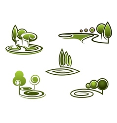 Green trees elements for landscape design vector