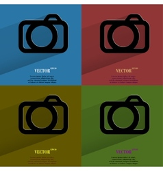 Color set camera flat modern web button with long vector