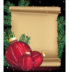 Christmas decorations and ancient manuscript vector