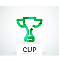 Abstract colorful logo design cup vector