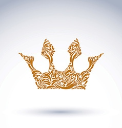 Flower-patterned crown art royal symbol king vector