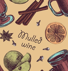 Seamless background with glass of mulled wine nuts vector
