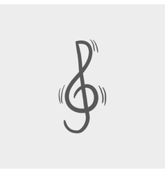 G-clef sketch icon vector