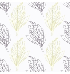 Hand drawn sage branch wirh flowers stylized black vector
