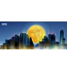 City skylines with full moon blue night vector