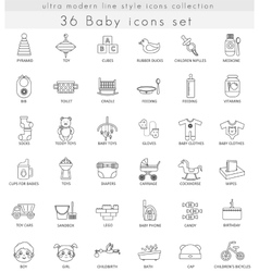 Baby ultra modern outline line icons for vector image