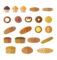 Set of icons in a flat style on the baking theme vector