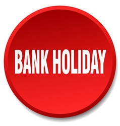Bank holiday red round flat isolated push button vector