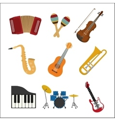 Music instrument icon set graphic vector
