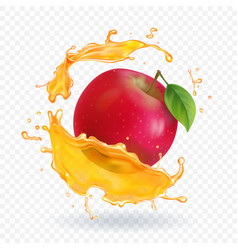 Apple fresh juice realistic vector