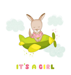 Baby girl kangaroo flying on a plane vector