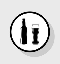 Beer bottle sign flat black icon in white vector