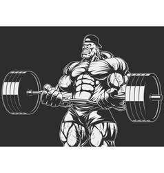 Bodybuilder with barbell vector image vector image