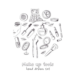 Collection of hand drawn tools for make-up vector