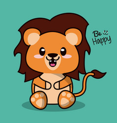 Color background with cute kawaii animal lion with vector