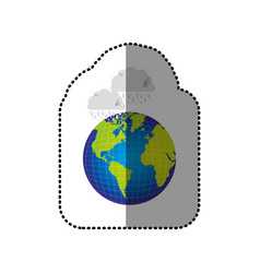 Color earth planet with clouds rainning icon vector