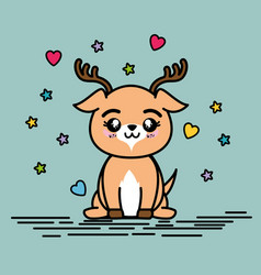 Cute and lovely deer animal cartoon vector