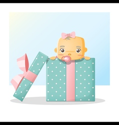 Cute baby inside gift box background 2 vector