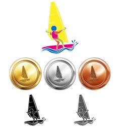 Different medals for sailing vector image vector image