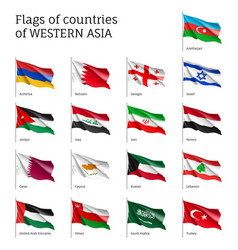 flags on flagpole western asian vector image