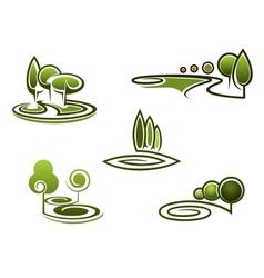 Green trees elements for landscape design vector image