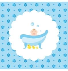 Happy baby in the bath with a rubber ducks vector