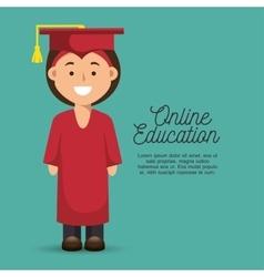 Happy woman education online graduation icon vector
