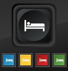 Hotel icon symbol Set of five colorful stylish vector image