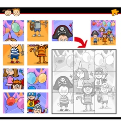 Kids masked ball jigsaw puzzle game vector