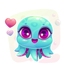 little cute cartoon baby octopus vector image vector image
