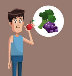 man healthy food exercise vector image