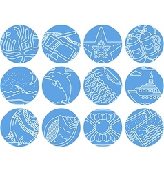 Maritime round icons collection vector image vector image
