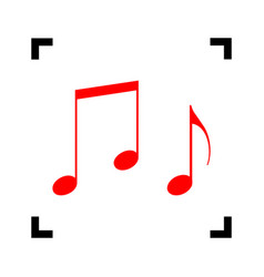Music notes sign red icon inside black vector