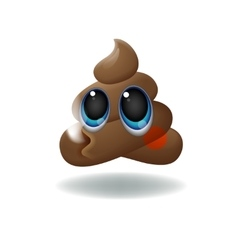 Pile of Poo emoji shit icon smiling face with vector image vector image