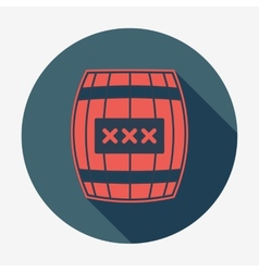 Pirate icon with long shadow cask or barrel flat vector