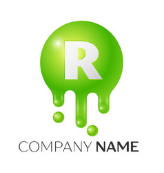 r letter splash green dots and bubbles letter vector image vector image
