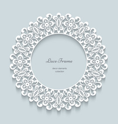 Round paper lace frame vector image