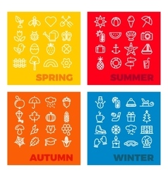 Season icons - spring summer autumn winter vector