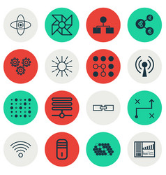 Set of 16 robotics icons includes solution vector